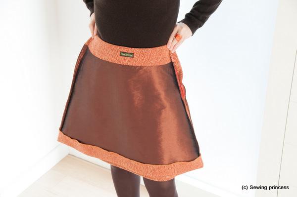 Herringbone A-line skirt lining