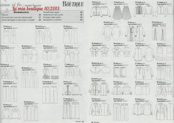La mia boutique 10/2013 pattern list
