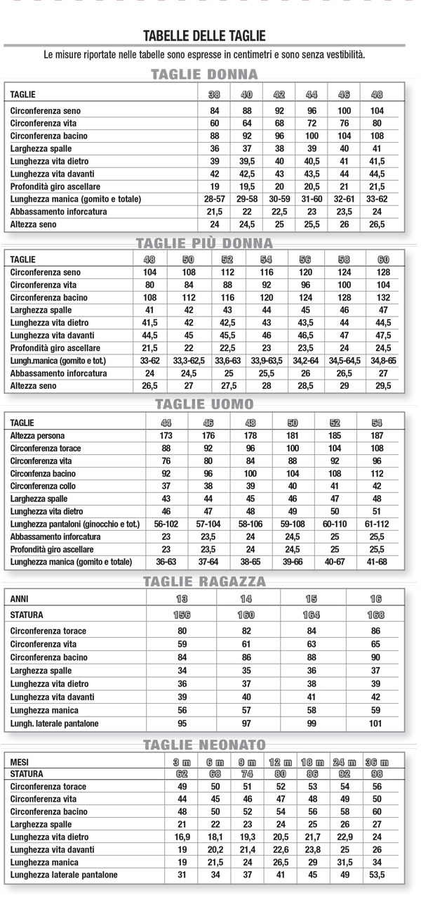 La Mia Boutique tabella taglie measurement chart